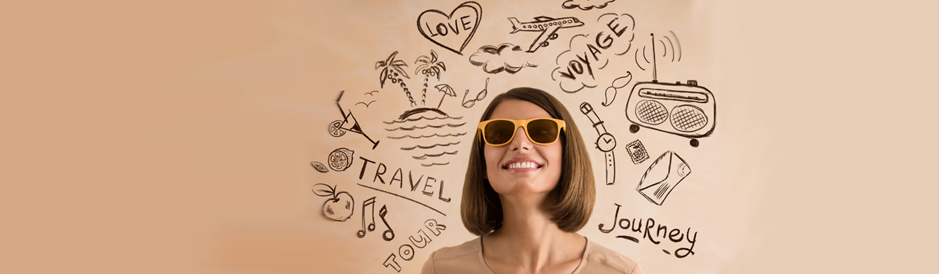 Woman thinking about places to travel