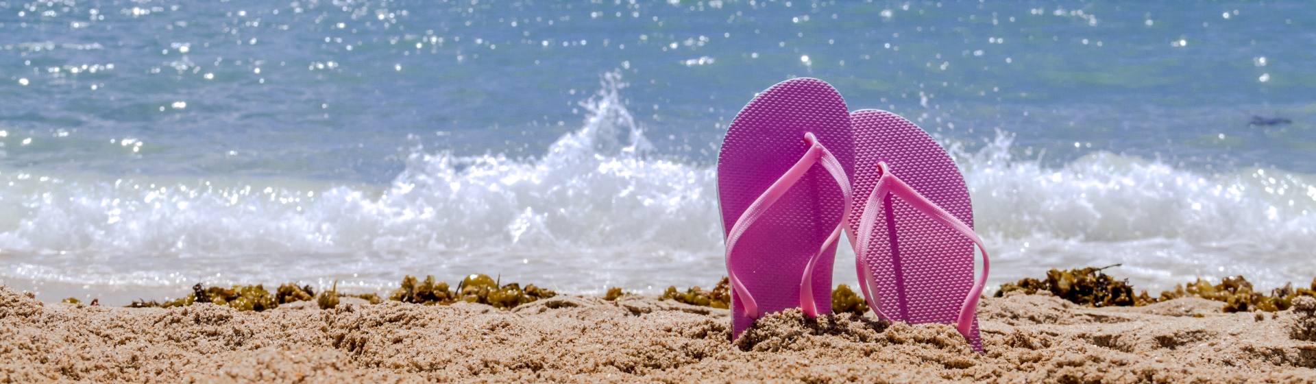 Pink flip flops sticking out of the sand on the beach.