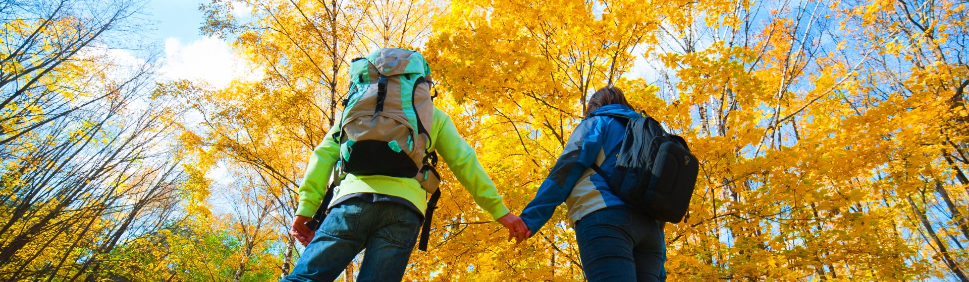 Backpackers gaze at fall foliage
