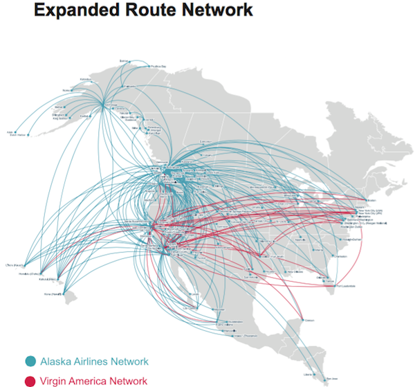 Virgin America Alaska Airlines Expanded Route Network