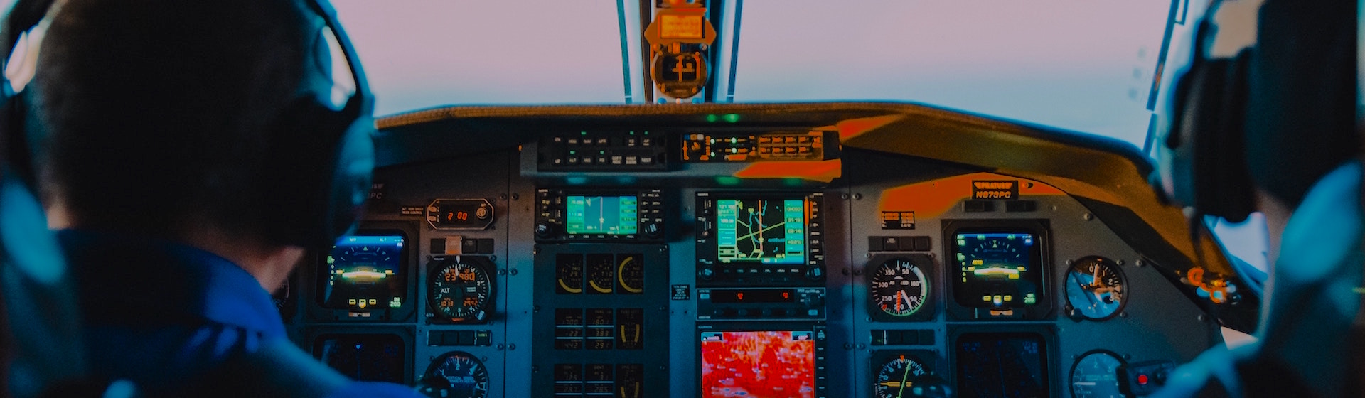 Airline pilots in the cockpit