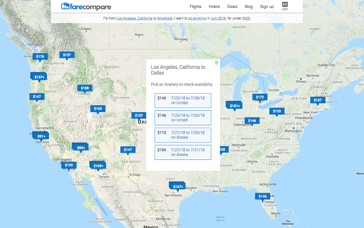 FareCompare Getaway Map