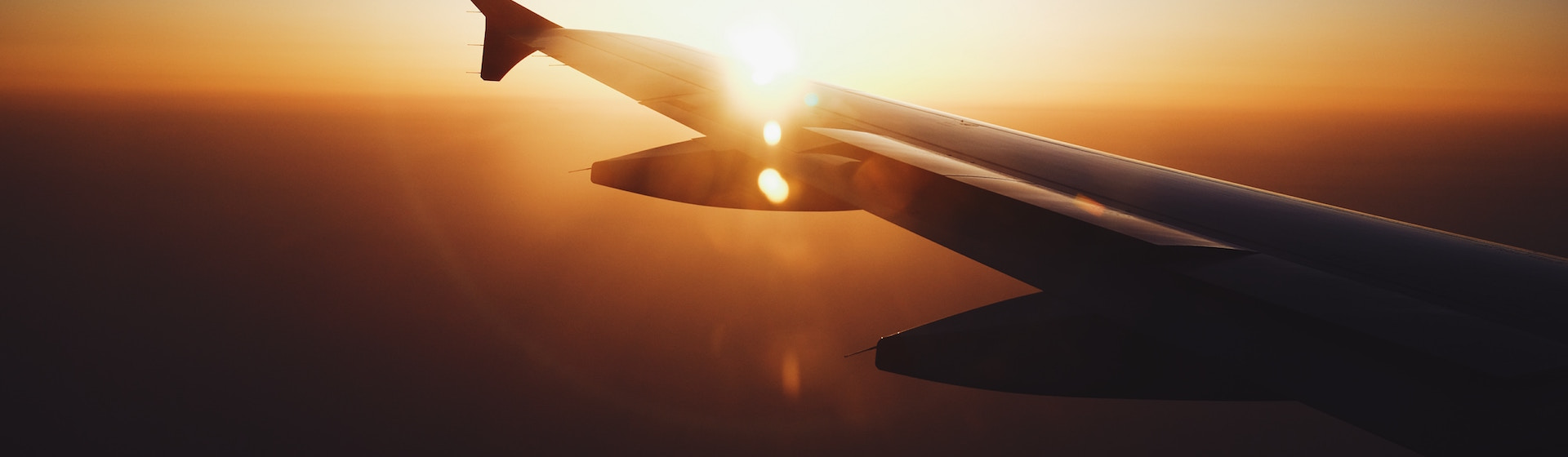 Airplane wing from window