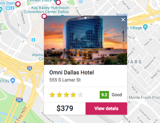 selecting hotel from map