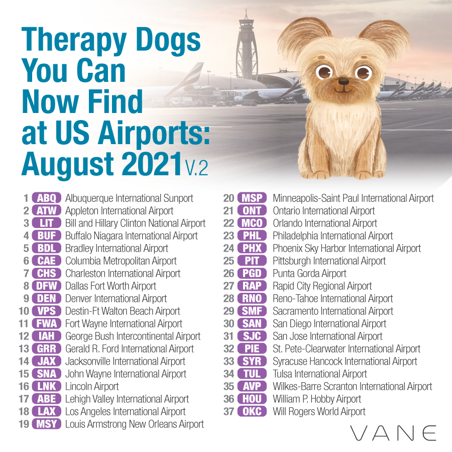 US airports therapy dogs